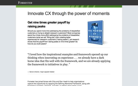 Screenshot of Landing Page forrester.com - Innovate CX through the power of moments · Forrester - captured July 2, 2017