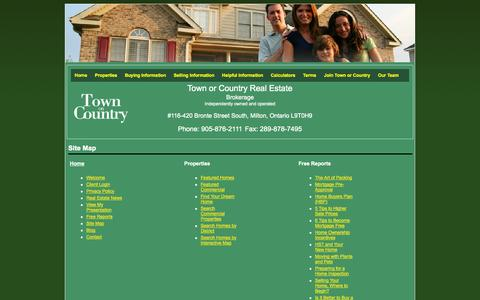 Screenshot of Site Map Page townorcountry.ca - Town or Country Real Estate (Halton) Ltd - captured Oct. 25, 2014