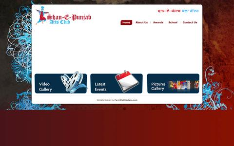 Screenshot of Home Page spacbc.com - Bhangra Club in Surrey, Vancouver BC - Shan-E-Punjab Arts Club - captured Oct. 3, 2014