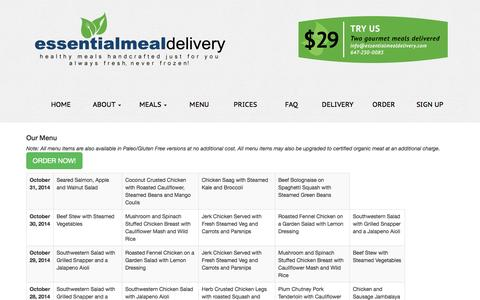Screenshot of Menu Page essentialmealdelivery.com - Essential Meal Delivery - captured Oct. 28, 2014