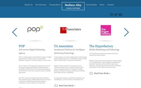Screenshot of Case Studies Page madisonalley.com - Case Studies | Madison Alley Global Ventures - captured Oct. 4, 2014