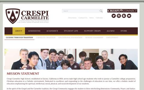 Screenshot of About Page crespi.org - Crespi Carmelite Guiding Through Tradition - captured Sept. 13, 2017