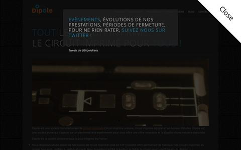 Screenshot of Home Page dipole-electronique.fr - Réalisation de circuits imprimés - Fabricant de circuit imprimé sur mesure - captured Feb. 9, 2016