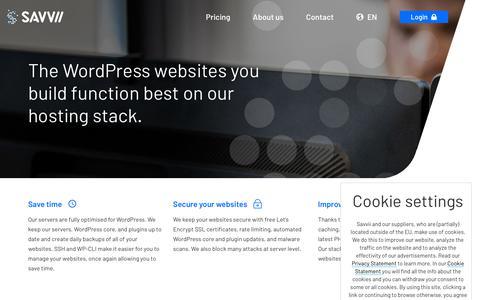 Screenshot of Developers Page savvii.com - WordPress hosting for developers: a superfast and secure hosting stack - captured Nov. 3, 2018