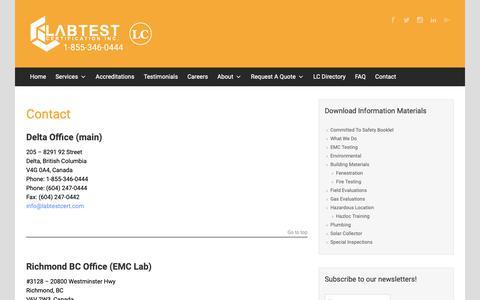 Screenshot of Contact Page labtestcert.com - Contact | - captured Oct. 2, 2018