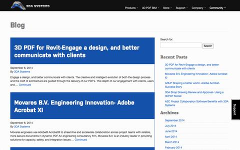Screenshot of Blog 3dasystems.com - BIM, revit and architecture blog from 3DA Systems - captured Oct. 27, 2014