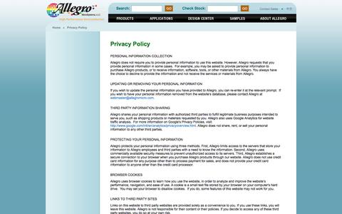 Screenshot of Privacy Page allegromicro.com - Allegro MicroSystems - Privacy Policy - captured Sept. 23, 2014