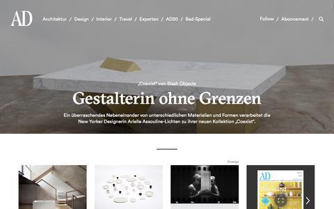 Screenshot of Home Page ad-magazin.de - Architektur, Design & Interior - AD - captured Aug. 31, 2017