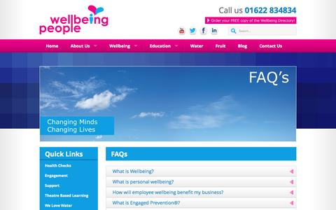 Screenshot of FAQ Page wellbeingpeople.com - FAQs from Wellbeing People - captured May 25, 2016
