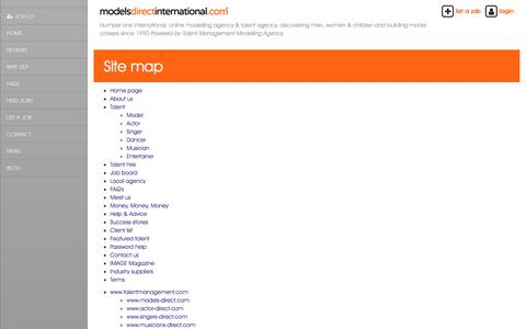 Screenshot of Site Map Page talentmanagement.com - Site map - captured Sept. 23, 2018
