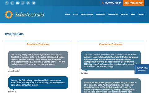Screenshot of Testimonials Page solaraus.com.au - Solar Australia | Testimonials - captured Oct. 20, 2018
