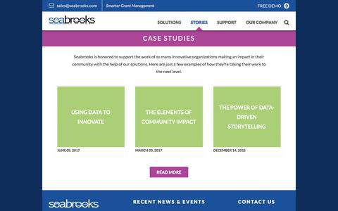 Screenshot of Case Studies Page seabrooks.com - Case Studies — Seabrooks ~ Smarter Grant Management, Community Investment, and Collective Impact Performance Measurement Software | Provider of e-CImpact Community Investment Grant Management Software and i-CResults Collective Impact Measurement Tool - captured Jan. 27, 2018