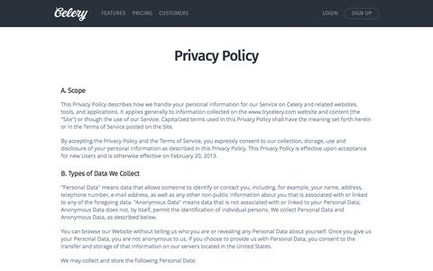 Privacy Policy | Celery