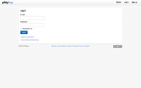 Screenshot of Login Page phlybuy.com - Log in - Phlybuy - captured Sept. 29, 2014
