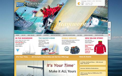 Screenshot of Home Page larsenmarine.com - Larsen Marine | Yacht Sales, Service, & Storage | Waukegan, IL - Home - captured Oct. 1, 2014