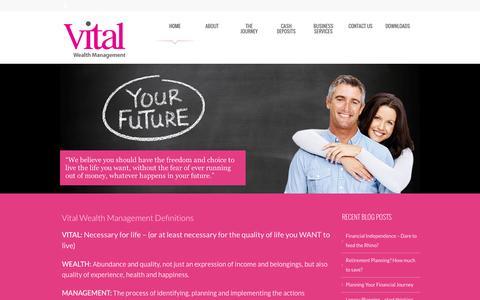 Screenshot of Home Page vitalwealthmanagement.co.uk - Vital Wealth Management - Financial Planning and Investment ManagementVital Wealth Management - captured Sept. 30, 2014