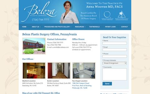 Screenshot of Contact Page Maps & Directions Page beleza-plasticsurgery.com - Plastic Surgery Office Locations in Pennsylvania | Plastic Surgeons Pittsburgh PA - captured Oct. 23, 2014