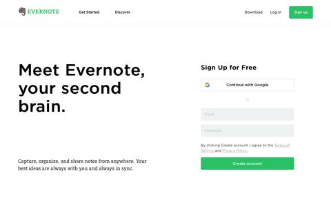 Screenshot of Home Page evernote.com - Get organized. Work smarter. Remember everything. | Evernote - captured May 30, 2017