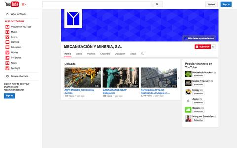 Screenshot of YouTube Page youtube.com - MECANIZACIÓN Y MINERIA, S.A.  - YouTube - captured Oct. 23, 2014
