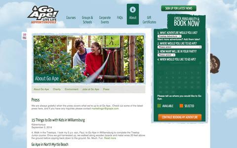 Screenshot of Press Page goape.com - Go Ape Treetop Adventure   Press   News   Media Inquiries - captured Sept. 19, 2014