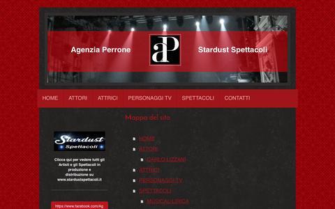 Screenshot of Site Map Page agenziaperrone.it - Management Artisti e Produzione Spettacoli, Tv, Cinema, Fiction, Teatro. - captured Oct. 3, 2018