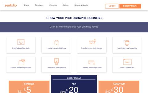 Screenshot of Signup Page Pricing Page zenfolio.com - Pricing Plans for Zenfolio.com Photography Websites - captured Oct. 3, 2018