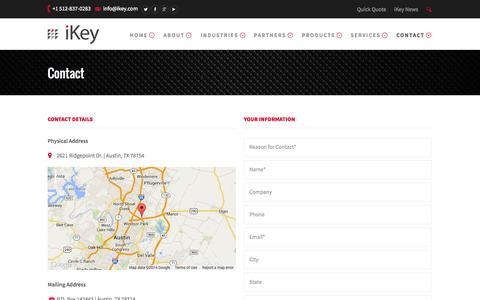 Screenshot of Contact Page ikey.com - Contact - iKey.COM Tough Keyboards - captured Oct. 6, 2014
