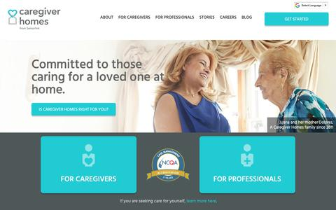 Screenshot of Home Page caregiverhomes.com - Family Caregiver In-Home Care Support   Caregiver Homes - captured April 11, 2019