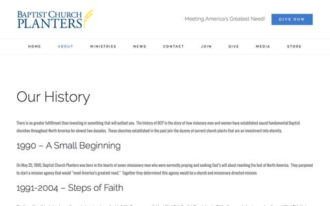 Screenshot of About Page bcpusa.org - Our History - Baptist Church Planters - captured Nov. 22, 2016