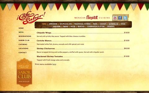 Screenshot of Menu Page cafesabor.com - Our Menu | Cafe Sabor - captured Sept. 26, 2014