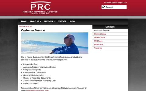 Screenshot of Support Page prclosings.com - Customer Service | Premier Reverse Closings - captured Oct. 2, 2014