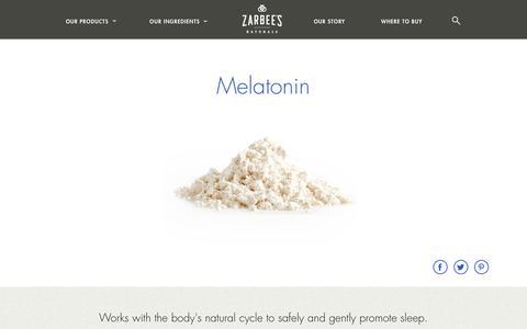 Screenshot of zarbees.com - Zarbee's Naturals™ Ingredient Stories – Melatonin - captured March 19, 2016