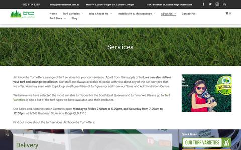 Screenshot of Services Page jimboombaturf.com.au - Brisbane grass supplier | Jimboomba Turf - captured Oct. 13, 2018