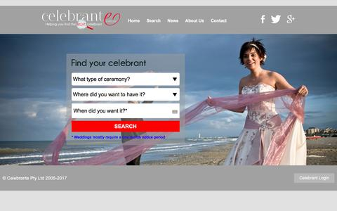 Screenshot of Home Page celebrante.com.au - Celebrante - Australia's premier celebrant directory - captured May 15, 2017