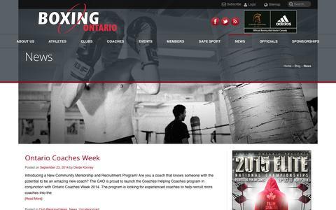 Screenshot of Press Page boxingontario.com - News | Boxing Ontario - captured Sept. 30, 2014