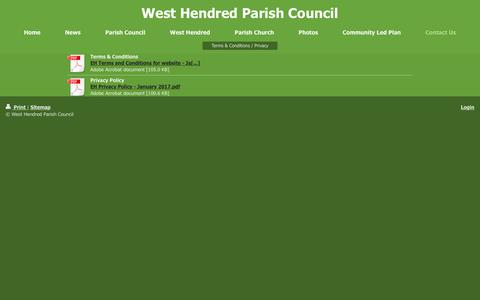 Screenshot of Privacy Page Terms Page westhendred.org - West Hendred Parish Council - Terms & Conditions / Privacy - captured Oct. 22, 2018