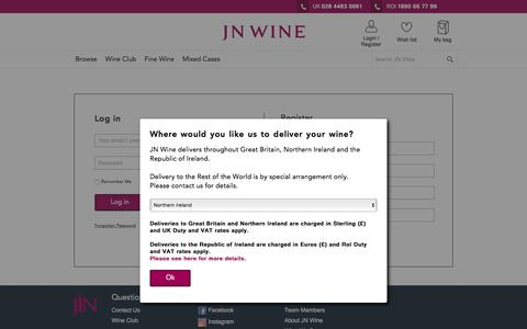 Screenshot of Login Page jnwine.com captured Oct. 16, 2017