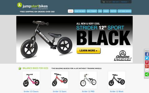 Screenshot of Home Page jumpstartbikes.com - Jump Start Bikes - Balance Bikes For Kids - A life without training wheels - captured Sept. 30, 2014