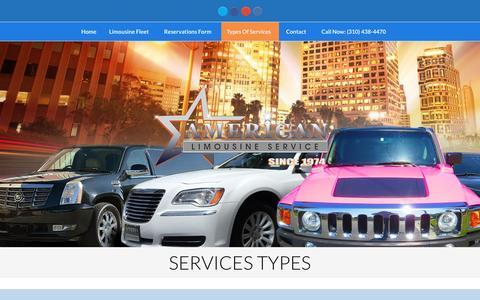 Screenshot of Services Page americanlimos.org - Types Of Limousine Services From American Limousine - captured Nov. 19, 2016
