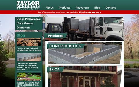 Screenshot of Products Page taylorconcrete.com - Taylor Concrete Products | Upstate NY Concrete Manufacturer and Vendor - captured Oct. 9, 2014