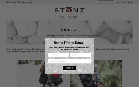 Screenshot of About Page stonzwear.com - About Us | Stonz | Baby and children's footwear, accessories and apparel - captured Oct. 1, 2018