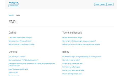 Screenshot of FAQ Page vinota.com - FAQs –  Support - captured Nov. 10, 2016