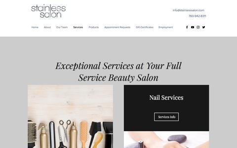 Screenshot of Services Page stainlesssalon.com - Services | Stainless Salon| Encinitas| Hair Salon - captured Nov. 4, 2017