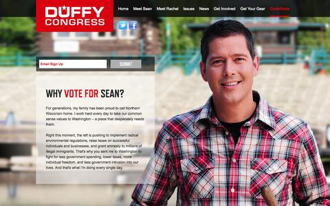 Screenshot of Home Page About Page duffyforcongress.com - Sean Duffy for Congress | DuffyForCongress.comSean Duffy for Congress | DuffyForCongress.com | Sean Duffy for Congress | DuffyForCongress.com - captured Oct. 3, 2014