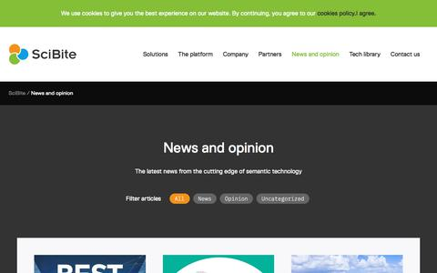 Screenshot of Press Page scibite.com - News and opinion | SciBite - captured May 11, 2018