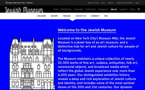 Screenshot of About Page Contact Page thejewishmuseum.org - The Jewish Museum - About - captured Sept. 19, 2014