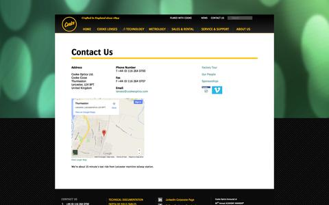 Screenshot of Contact Page Maps & Directions Page cookeoptics.com - Cooke Optics | Contact Us | Factory Tour | Our People - captured Oct. 22, 2014