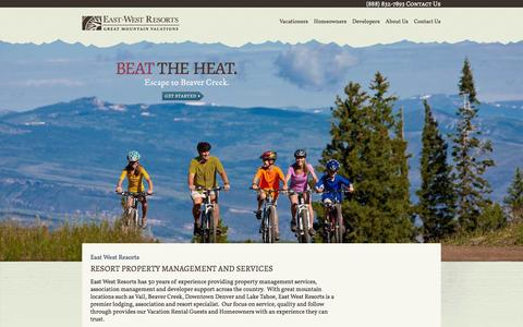 Screenshot of Home Page eastwestresort.com - Resort Lodging & Mountain Vacation Destinations - captured Oct. 1, 2014