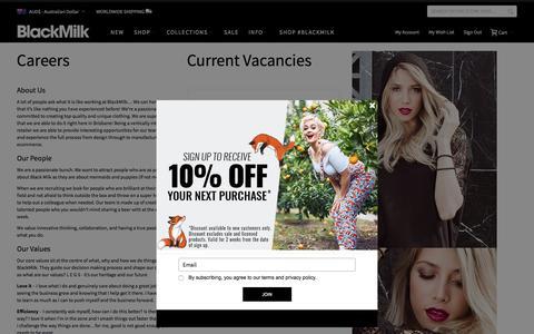 Screenshot of Jobs Page blackmilkclothing.com - CAREERS - captured Sept. 9, 2018
