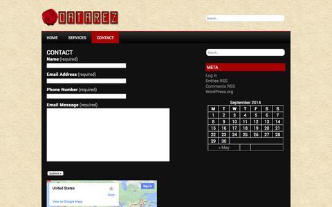 Screenshot of Contact Page datarez.com - Contact | DataRez.com - captured Sept. 30, 2014